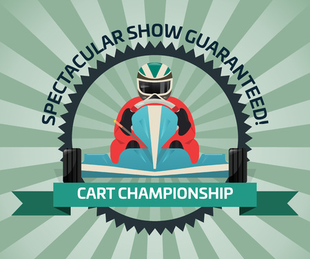 Cart championship banner in flat design vector illustration. Auto pilots competition, speed racing, extreme karting sport, automobile motor show, road trophy race. Driver racing on go kart logo.