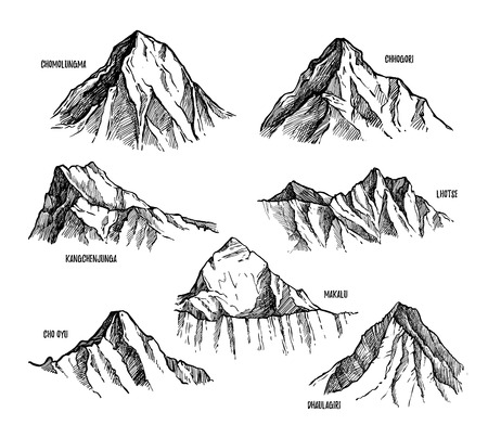 Highest mountains of Himalaya, Nepal hand drawn set vector illustration. Lhotse, Makalu, Kangchenjunga, Cho Oyu, Chomolungma, Dhaulagiri, Chogori pencil sketches isolated on white background Stock Photo