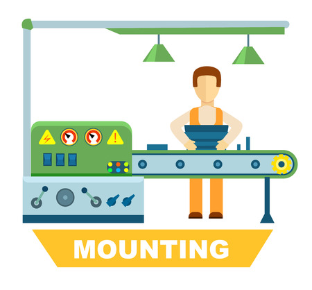 mounting: Industrial mounting isolated vector concept