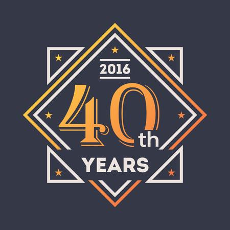 commemoration: Anniversary design element, 40th years label Illustration
