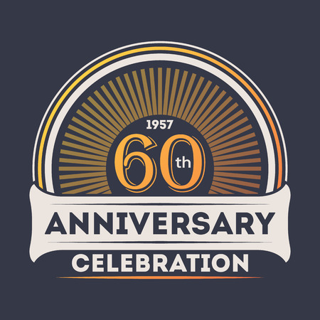 60th: 60th years anniversary celebration sticker Illustration