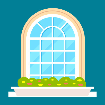 Modern residential window with flower