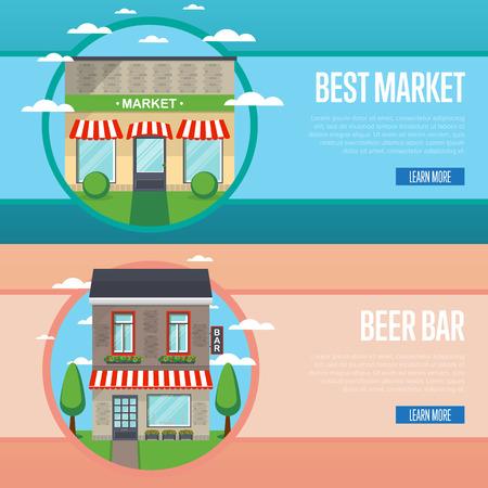 modern house: Best market and beer bar banner set