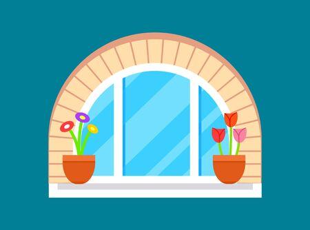 Residential window with flower on windowsill