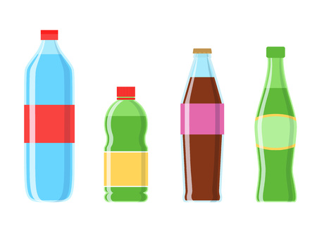 Cola plastic bottle set vector icon 向量圖像