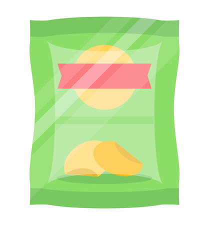 Packaged chips isolated vector icon