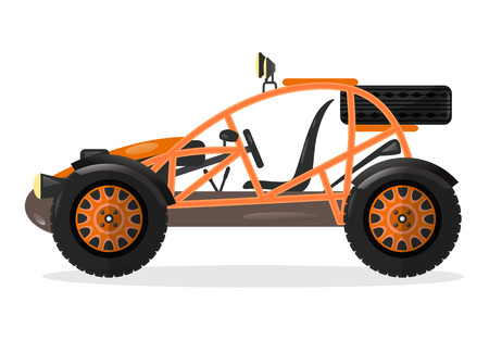 Dune buggy car isolated vector illustration. Outdoor auto racing, extreme terrain vehicle, off road 4x4 motor design element.