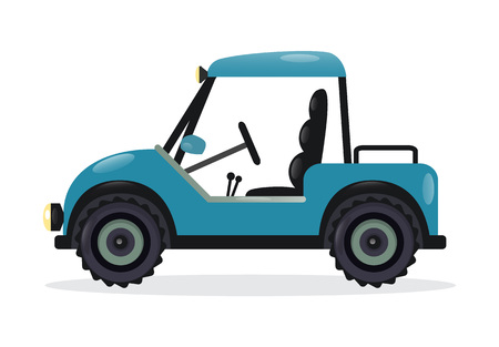 ゴルフ カート分離ベクトル イラスト。屋外自動車レース、スポーツ車、ロード 4 x 4 バギーのデザイン要素から。