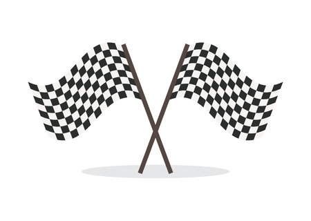 Checkered flag icon isolated vector illustration on white background. Rippled black and white crossed checkered flag, finish symbol.