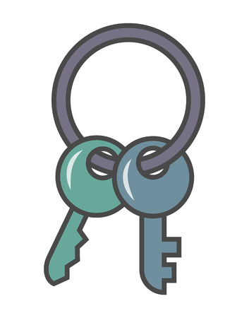 Door key pictogram isolated on white background vector illustration. Business protection, security monitoring, access blocking icon Illustration