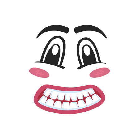 consternation: Fright emoji emoticon or smiley face character. Funny facial expression, cute comic face isolated vector illustration. Illustration