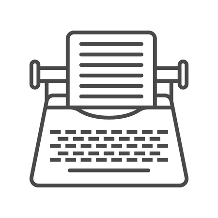 Vintage typewriter linear vector icon Illustration