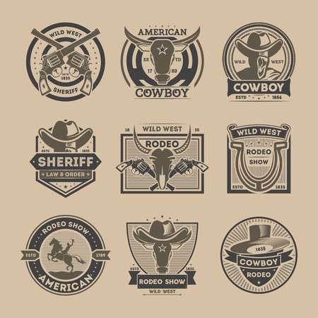 Cowboy vintage isolated label set. American rodeo show badge and wild west sheriff department emblem in monochrome style. Authentic cowboy show advertising vector illustration element collection.