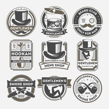 Gentleman vintage isolated label set. Smoke shop badge, beard club logo, only for man symbol. Gentleman vector illustration emblem collection with cylinder hat, cigar, whiskey, mustache, smoking pipe