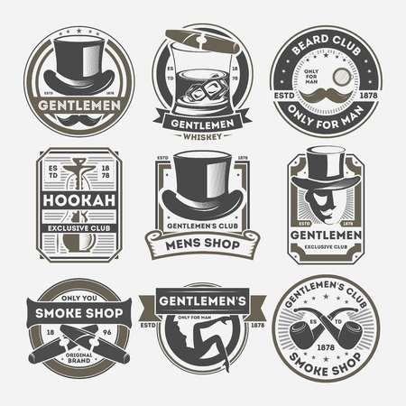 Gentleman vintage isolé étiquette ensemble. Insigne de magasin de tabac, logo de barbe, seulement pour le symbole de l'homme. Gentleman vector illustration emblème collection avec chapeau de cylindre, cigare, whisky, moustache, pipe à fumer Banque d'images - 78189828