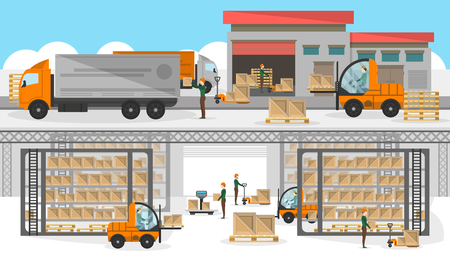 Loading process in storehouse banner. Distribution business vector illustration with freight truck near storage. Commercial freight service, shipping company, cargo delivery and logistics poster. Vectores