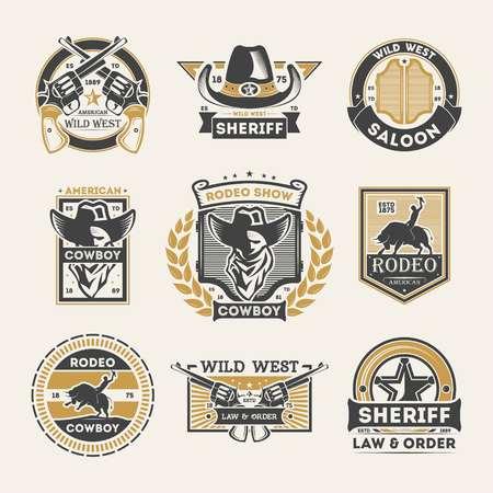 野生の西のヴィンテージは、ラベル セットを分離しました。アメリカのロデオは、バッジ、カウボーイ サルーン ロゴ、保安官の法律・命令のエンブレムを表示します。モノクロ スタイルで本格的な西洋のベクトル図の要素のコレクション。 写真素材 - 78191249
