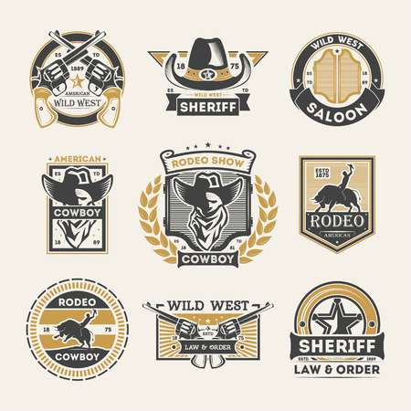 Wild west vintage isolated label set. American rodeo show badge, cowboy saloon logo, sheriff law & order emblem. Authentic western vector illustration element collection in monochrome style. Stock Vector - 78191249