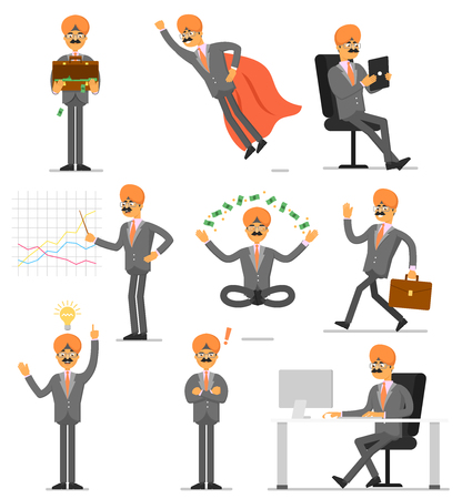 man meditating: Indian businessman isolated character set. Office working, idea generation, presentation, meditate, flying. Man in business suit and turban in different gestures, poses and actions vector illustration