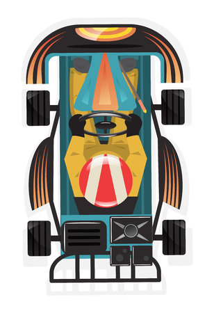 Top view kart racer isolated vector icon