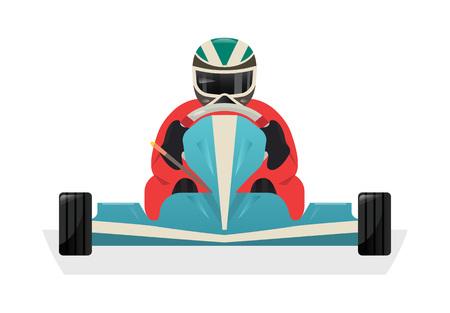 Go kart racer isolated vector icon