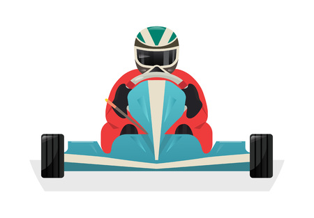 Go kart racer isolated vector icon