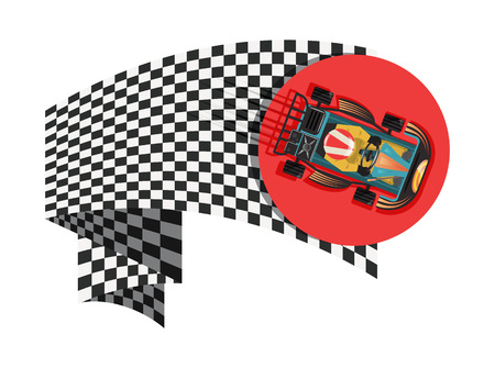 Karting sport symbol with checkered flag isolated vector illustration. Extreme karting competition, road trophy race championship, driver racing on go kart. Stock Vector - 78275541