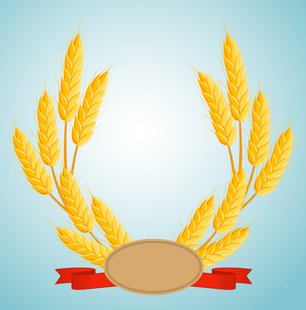 Cartoon wheat wreath with copy space for text. Bakery design element, organic local farming, natural agriculture. Frame with wheat bread ears, cereal crop harvest isolated vector illustration. Illustration