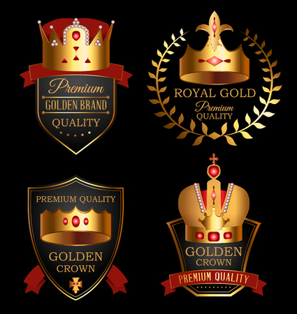 Premium quality mark set with golden crown. Medieval heraldic symbol, beautiful monarchy 3d design element, royalty company logo with ribbon. Elegant aristocratic branding vector illustration. Illustration
