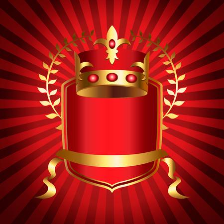 Royalty emblem with golden crown of kingdom, shield and ribbon. Medieval heraldic symbol, beautiful monarchy design element, royalty company logo. Elegant aristocratic branding vector illustration
