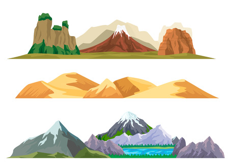 Nature mountain landscape set isolated vector illustration. Ancient volcano, sand dunes and ice mountain range with lake. Outdoor adventure, travel, tourism, camping and hiking design elements