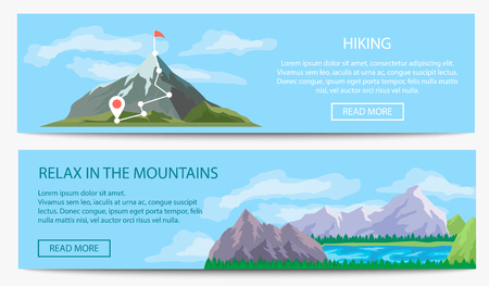 alpinism: Extreme travel and hiking banner set vector illustration. Nature landscape with ice mountain range. Tourism organization, professional alpinism, mountaineering and outdoor adventure Illustration