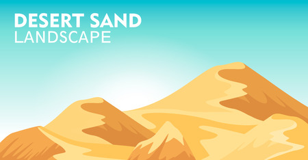 sand dunes: Desert sand landscape background vector illustration. Blue sky and yellow sand dunes, dry desert mountain sandstone under sun backdrop. Outdoor adventure, nature travel and tourism banner.