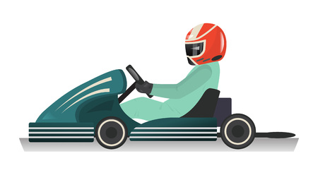 Karting sportsman icon isolated vector illustration. Extreme auto sport competition, road trophy race championship, driver racing on go kart. Stock Vector - 78276515