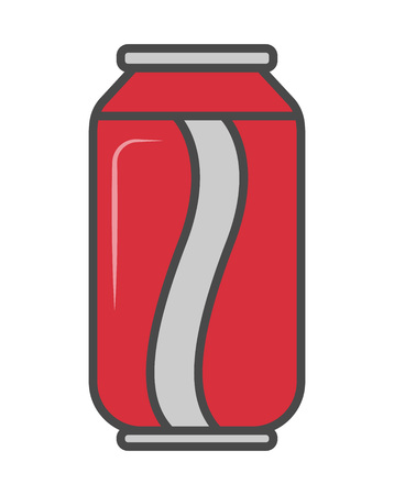 Soda can vector illustration isolated on white background. Cold drink, cola beverage, cafe or restaurant fast food menu pictogram.