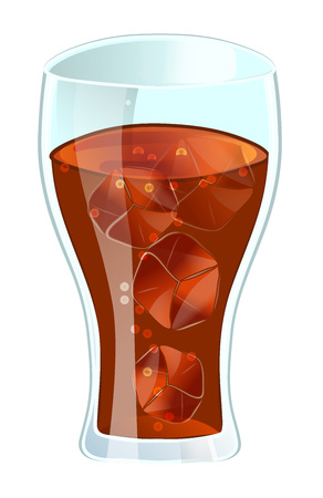 Cola in glass with ice vector illustration isolated on white background. Cold drink, soda beverage, cafe or restaurant fast food menu element. Illustration