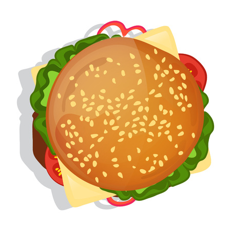 Delicious burger icon vector illustration isolated on white background. Cafe or restaurant fast food snack, top view eating menu pictogram.