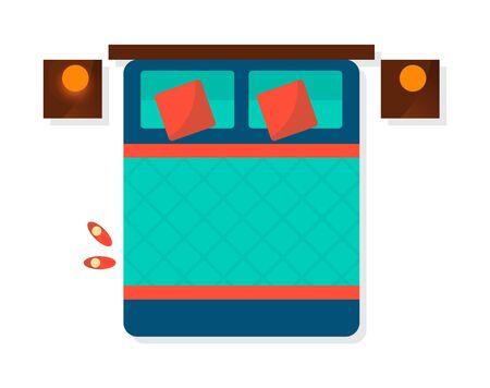 Lément intérieur chambre vue de dessus isolé sur illustration vectorielle fond blanc. Design de mobilier d'appartement avec lit et table de chevet au design plat Banque d'images - 78609579