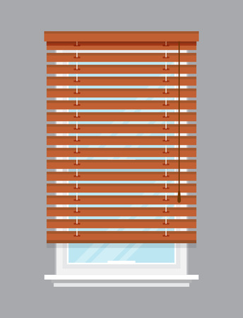 jalousie: Window with brown roller blind isolated vector illustration. Architectural detail, window treatment, creative home interior object, building element in flat style