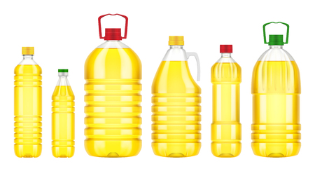 Vegetable oil plastic bottle isolated on white background. Vector packaging mockup with realistic bottle Illustration