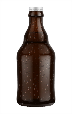 Beer bottle glass isolated on white background. Vector packaging mockup with realistic bottle Illustration