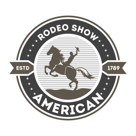 event: American rodeo show isolated label. Wild west cowboy event badge in monochrome style, horseman sign, authentic western show symbol vector illustration.