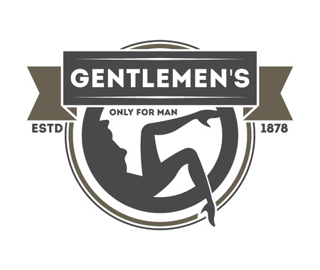 exclusive: Gentleman exclusive club vintage isolated label. Man shop badge, pub or bar symbol vector illustration in monochrome style Illustration
