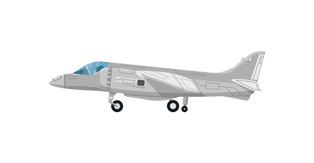 Military jet aircraft isolated icon. Modern army force aviation, air transport, supersonic combat airplane, jet plane vector illustration Illustration