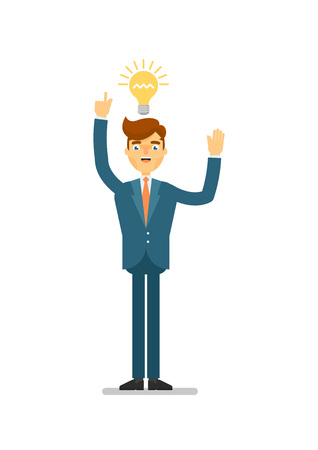 Happy businessman idea generation for startup. Standing young man in business suit, aha moment, creative in business isolated vector illustration. Фото со стока - 79746540