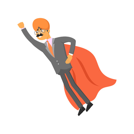 cloak: Indian businessman with cloak of superman. Man in business suit and turban, business people vector illustration.