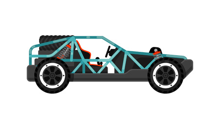 jeep: Off road dune buggy isolated icon. Modern auto vehicle, outdoor people transportation and travel activity vector illustration. Illustration