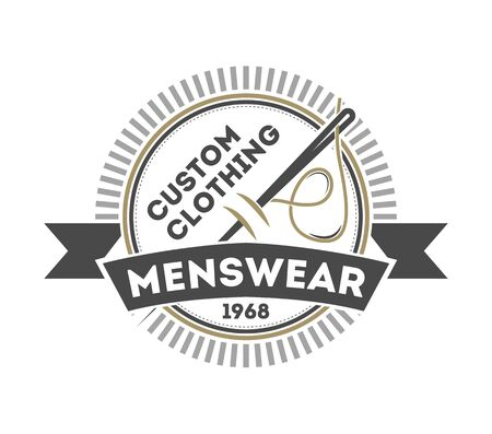 Custom clothing menswear vintage isolated logo. Handcrafted store badge, premium quality atelier vector illustration in monochrome style. Stok Fotoğraf - 79918972