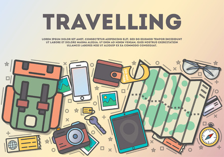Travelling top view banner in line art style vector illustration. Planning summer vacation, camping and hiking, tourism and journey, world traveling. Backpack, camera, map, smartphone, tablet on table