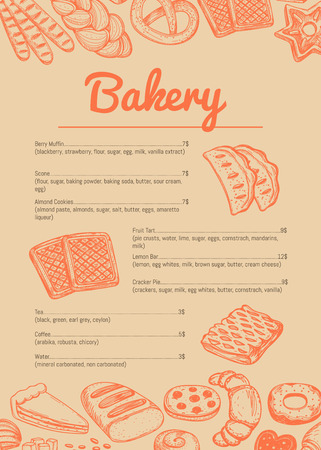 Bakery hand drawn price catalog. Sweet pastry cafe or restaurant menu template, handmade bakehouse banner, tasty food card vector illustration. Croissant, puff, pie, bagel and cookie sketches